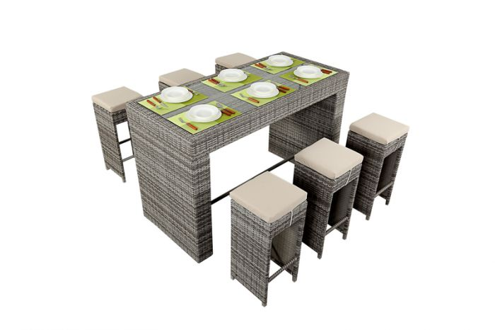 Luxe Rustic Rattan 6 Seater Drinks Bar