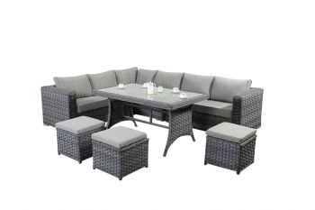 6 Seater Rattan Corner Sofa Dining Set in Platinum Grey