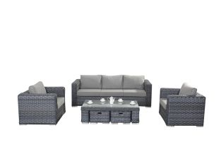 5 Seater Rattan Large Sofa Set in Platinum Grey