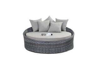 Small Round Rattan Daybed in Platinum Grey D140cm x H55cm