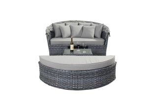 Large Rectangular Rattan Daybed in Platinum Grey W140cm x H76cm