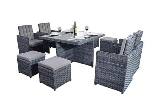 4 Seater Rattan Cube Set in Platinum Grey