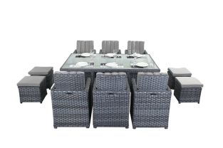 6 Seater Rattan Cube Set in Platinum Grey