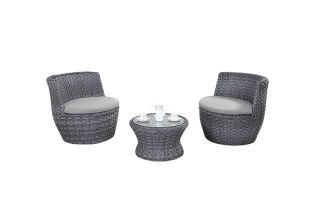 2 Seater Rattan Stacking Barrel Bistro Set in Platinum Grey