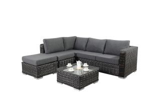 Small 4 Seater Rattan Corner Sofa Set in Platinum Black