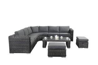 6 Seater Rattan Round Corner Sofa Set in Platinum Black