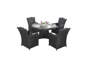 4 Seater Rattan Round Dining Set in Platinum Black