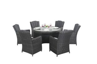 6 Seater Rattan Round Dining Set in Platinum Black