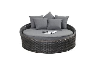 Small Rattan Round Daybed in Platinum Black D140cm x H55cm