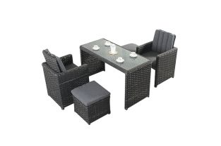 2 Seater Rattan Cube Bistro Set in Platinum Black