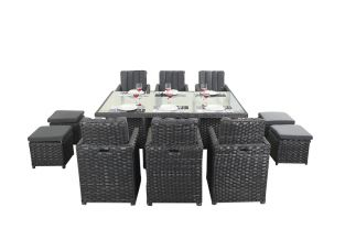 6 Seater Rattan Cube Set in Platinum Black