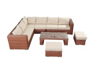Large 6 Seater Rattan Corner Sofa Set in Platinum Black