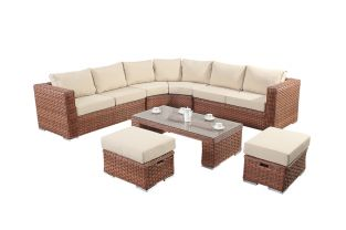 Round 6 Seater Rattan Corner Sofa Set in Platinum Brown