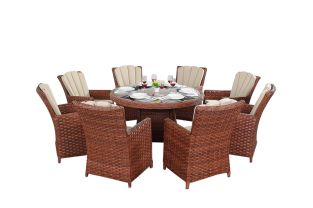 Round 8 Seater Rattan Dining Set in Platinum Brown