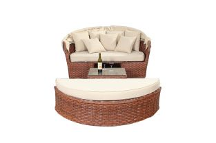 Large Rattan Rectangular Daybed in Platinum Brown W140cm x H76cm