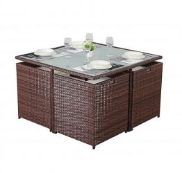 Port Royal Brown Rattan 4 Seater Cube Dining Set with Glass Topped Table