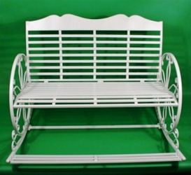 Francesca White Painted 2 Seater Iron Garden Rocking Bench