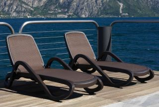 Alpha Reclining Resin Sun Lounger With Textilene - Coffee Brown