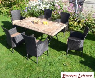 Monte Carlo Dining Table with 6 Black Stockholm Chairs