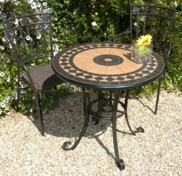 Cherbourg Garden Bistro Set - Round Ceramic Table with 2 Pineda Wicker Chairs