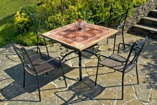 Costanta Garden Patio Set - Square Travertine Table with 4 Treviso Wicker Armchairs