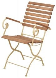 90 cm (2 ft 11 in) Outdoor Folding Chair, Cream
