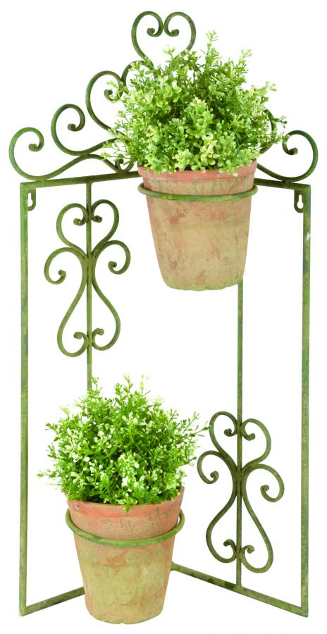 68 cm (2ft 2in ) Aged Metal Hinged Plant Holder, Green