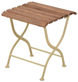 44cm (1ft 5in) Outdoor Folding Wooden Side Table, Cream