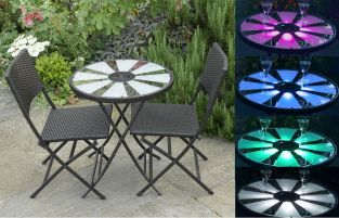 Aruba Solar Garden Bistro Set - 60cm Table with LED Lights and 2 Rattan Folding Chairs