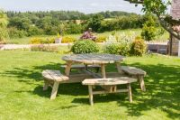 Rose Round Wooden Garden Picnic Table 2.1m