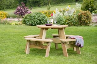 Katie Round Wooden Garden Picnic Table 1.47m