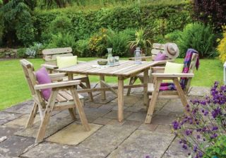 2.56m (8ft 5in) Abbey Square Table Chair Set FSC® by Zest 4 Leisure®