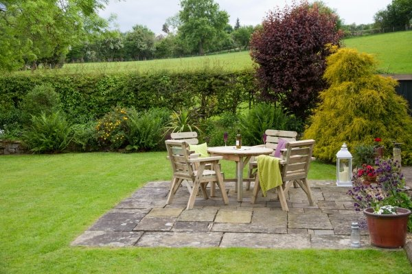 2.36m (7ft 6in) Abbey Round FSC Wooden Garden Table & Four Chairs Set by Zest 4 Leisure