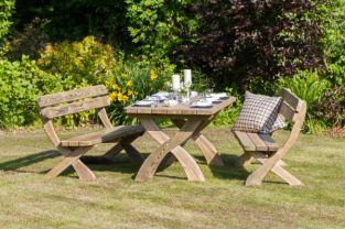 2.0m (6ft 6in) Harriet FSC Wooden Garden Table & Two Bench Set by Zest 4 Leisure