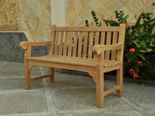 Queensbury 2 seat Teak Bench 120cm (3ft 11in)