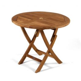 Whitley 2-4 Seater Round Folding Teak Table 90cm (2ft 11in)