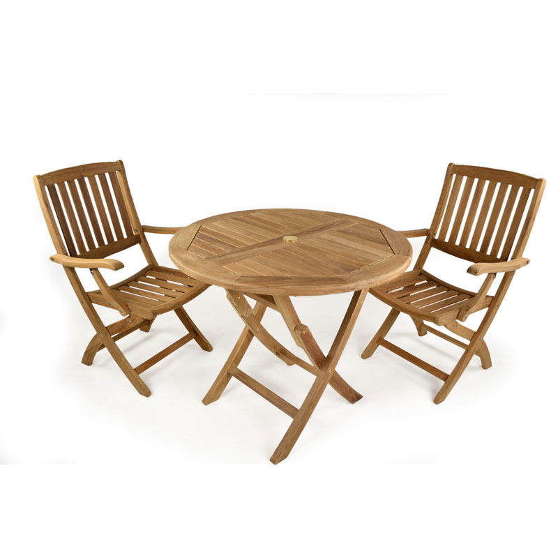 York Round Teak 2 Seater Bistro Set