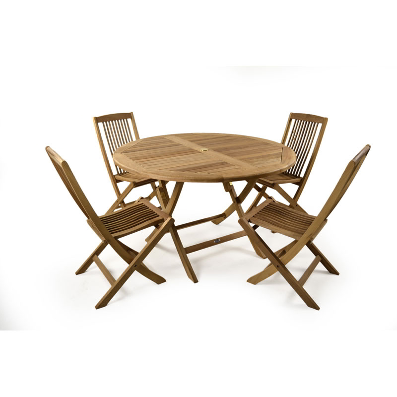 Hampton 4 seater teak round table set for Round table 99