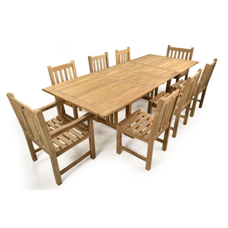 St James 8 Seater Double Extending Teak Table Set