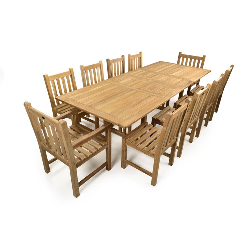 Jubilee 10 Seater Double Extending Teak Table Set