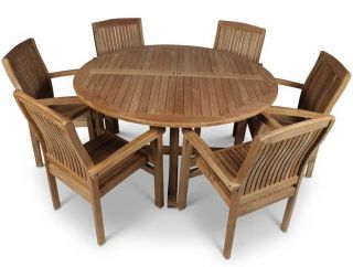 6 Seater Large Round Teak Table Set