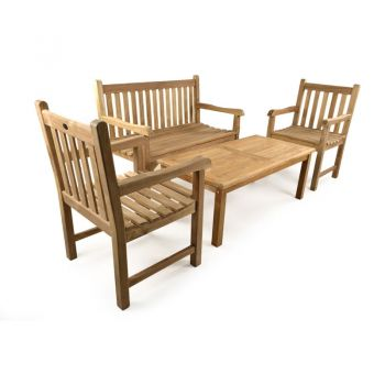 Warwick 4 Seater Teak Bench Coffee Set