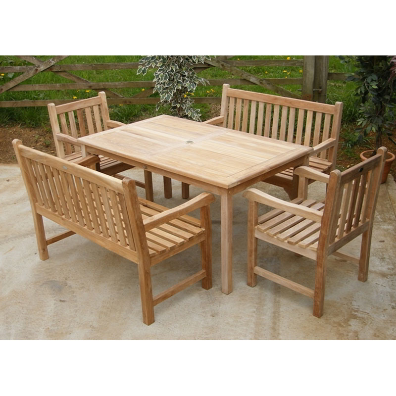 Warwick 6 seater teak bench set 1 for Gardening 4 you warwick