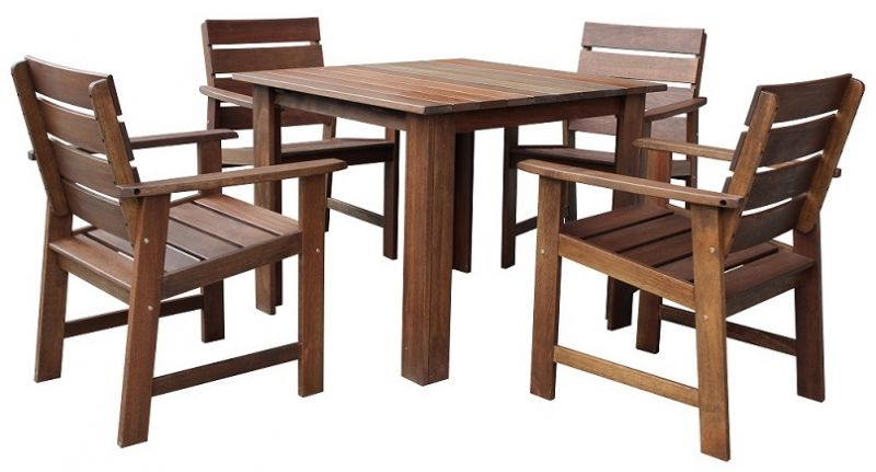 Somerset Timber Four Seater Square Dining Set