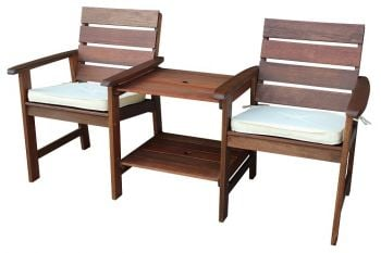 Somerset Companion Bench Set with Cushions W150cm x D90cm (Green or Natural)