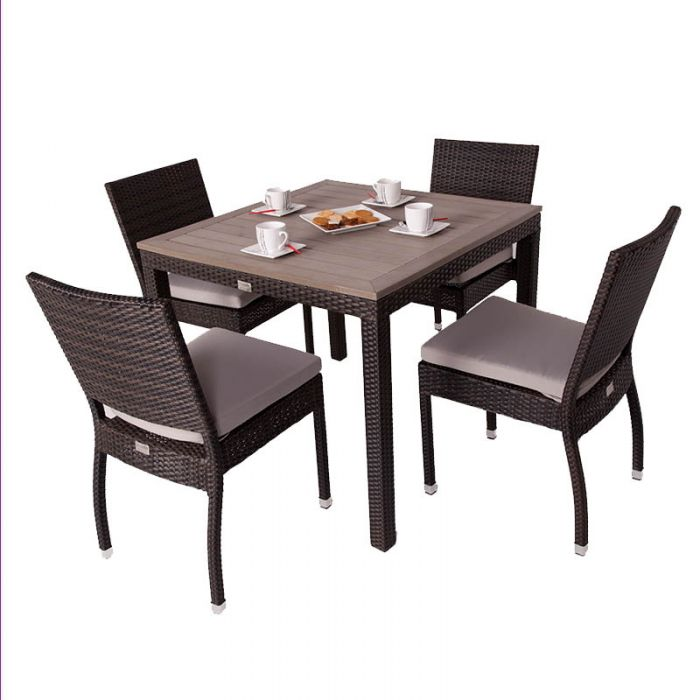 Andreas Four Seater Rattan Dining Set with Plaswood Top