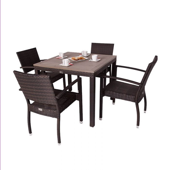 Apollo Four Seater Rattan Dining Set with Plaswood Top