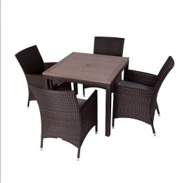 Alonso Four Seater Rattan Dining Set with Plaswood Top
