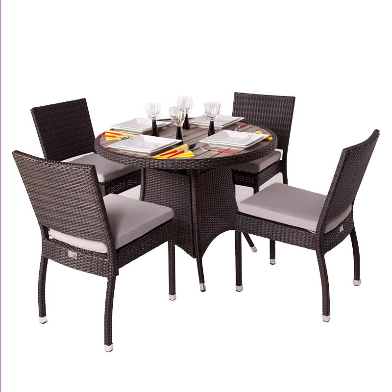 Cassius Four Seater Rattan Dining Set with Plaswood Top