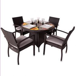 Diego Four Seater Rattan Dining Set with Plaswood Top